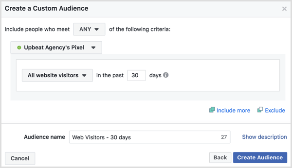 Choose options to create Facebook custom audience of all website visitors in the past 30 days