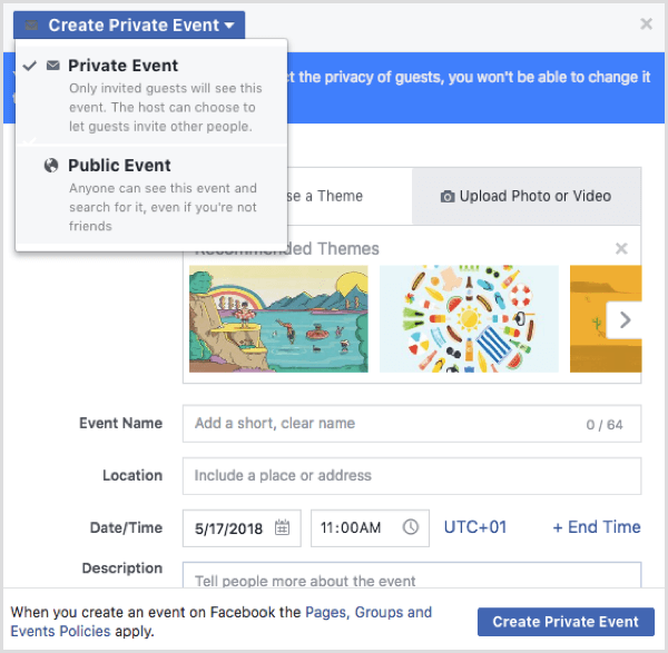 Facebook event options when creating an event from a Facebook profile