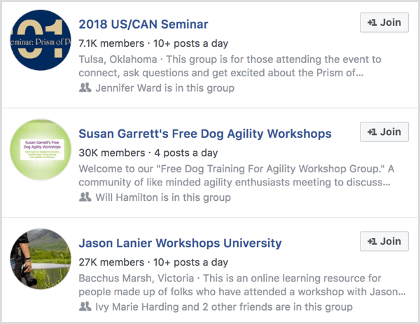 examples of Facebook groups for event attendees