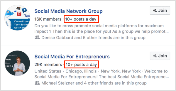 examples of number of posts per day for Facebook group