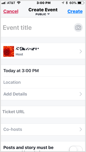 set up event with Facebook Local app