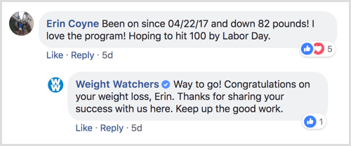 example of Facebook page response to user comment