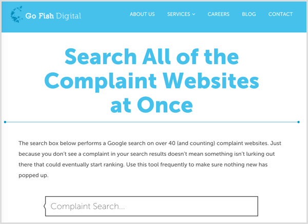 Go Fish digital complaint search box