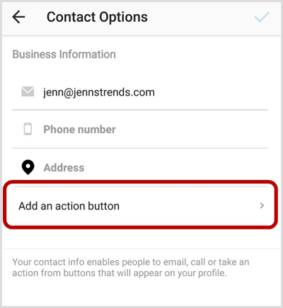 Add an Action Button option on Instagram Contact Options screen