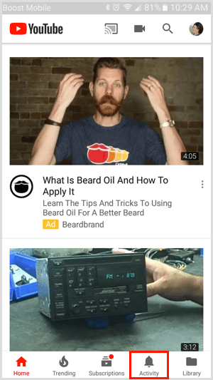 Activity tab in the YouTube mobile app