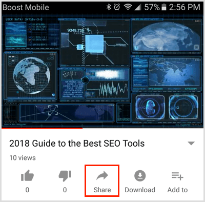 Tap the Share button below a video on YouTube mobile app