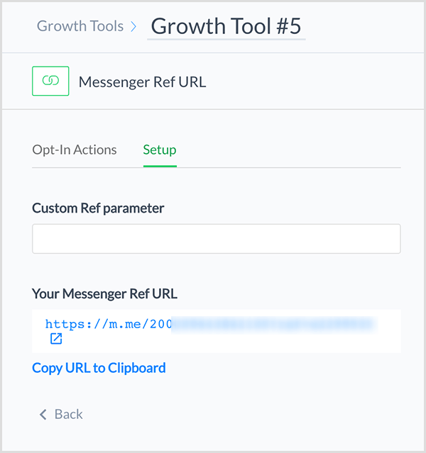 Molly Pittman says the ManyChat Messenger Ref URL Growth Tool gives you a link that directs someone to your Messenger chatbot.