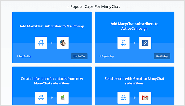 Molly Pitmann says Zapier integration allows you to send an email address a user provides in Messenger to your email automation software.