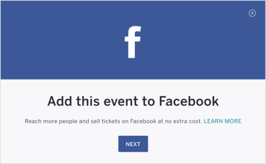 Once your Eventbrite event is set up, publish it and add it to Facebook.