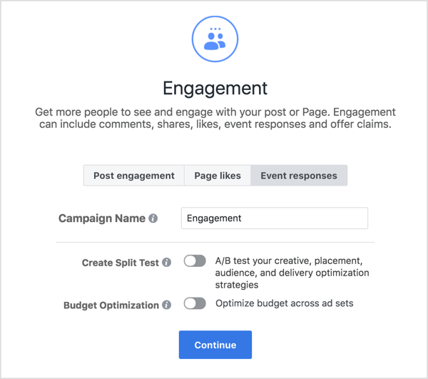 Run engagement ads in the form of Event Responses.