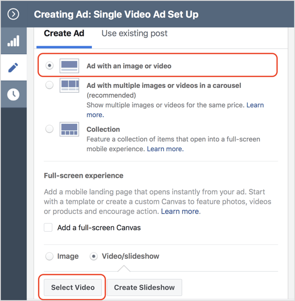 Select the Video/Slideshow option button and click Select Video.
