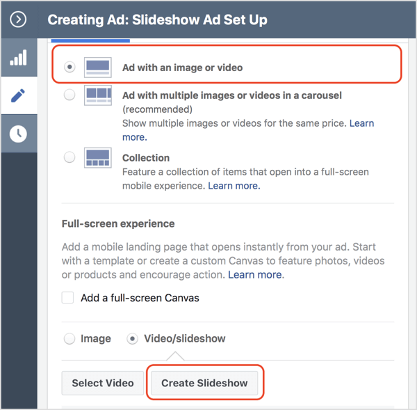 Select the Video/Slideshow option button and click Create Slideshow.