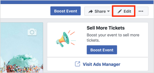 To add a co-host to an existing Facebook event, click Edit on the event page.