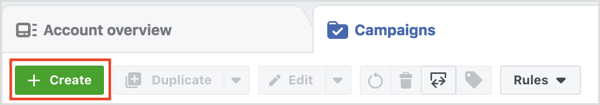 To set up a Facebook in-stream video ad, go to Ads Manager and click Create.