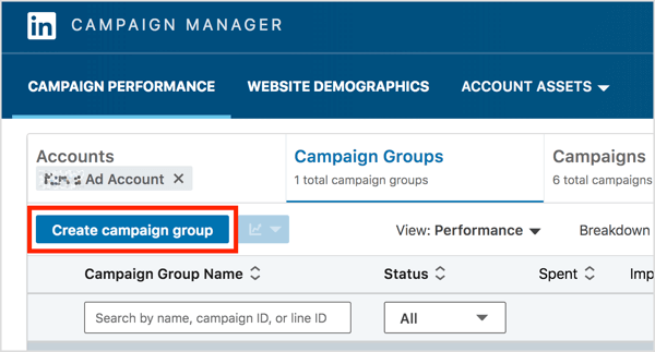 On the Campaign Groups tab of LinkedIn Campaign Manager, click the Create Campaign Group button.