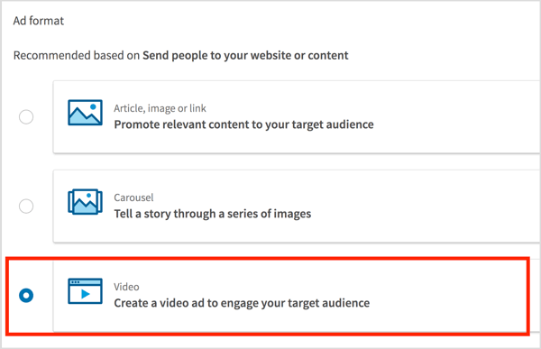 ALTChoose Video as the ad format and click Next.