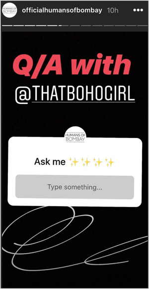 Instagram Stories Questions sticker asking for questions for AMA.