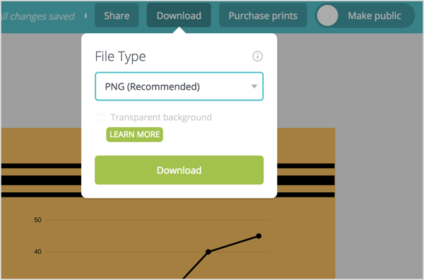 . Click the Download button at the top of the screen and select the file type you need.