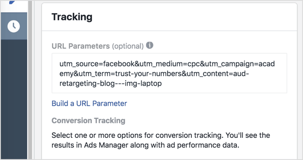 In Ads Manager, add your tracking parameters (everything after the question mark) to the URL Parameters box.