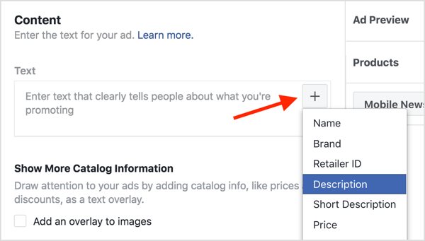 Click the + button in the Text field and select Description from the drop-down list.