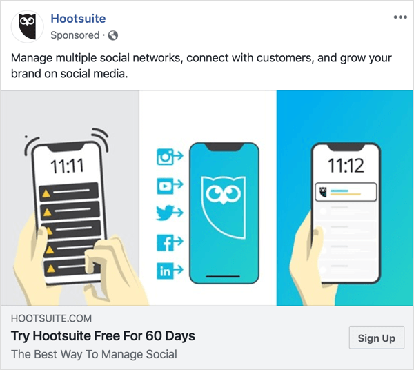 The messaging in the Hootsuite Facebook ad is clear-cut and concise.