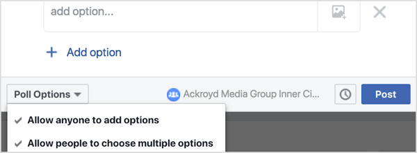 From the Poll Options drop-down menu, you can indicate whether you'd like members to be able to add options to the poll and select more than one option.