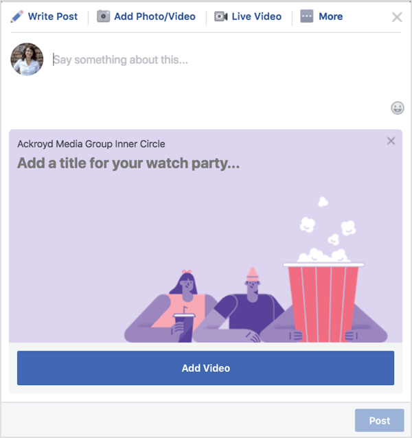Give your Facebook watch party a title and description.