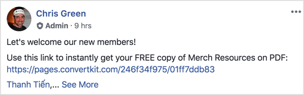 This Facebook group post welcomes the new members and reminds them to download a free PDF.