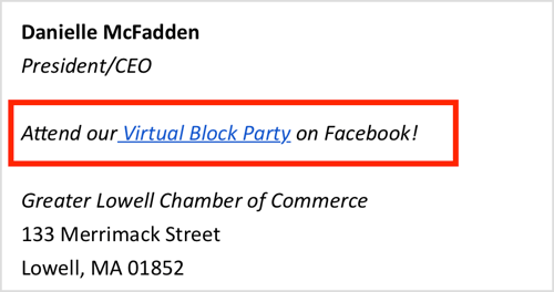 Promote your virtual Facebook event in your email signature.