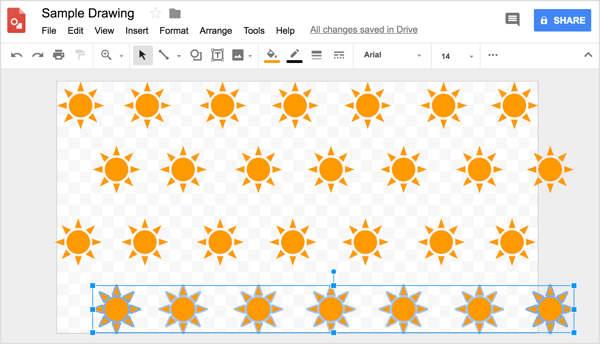 Use the grid to help you position the rows evenly in your Google Drawings design.