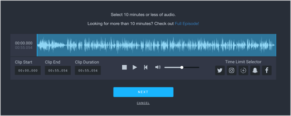 Edit the start and end of your audio clip on Headliner.