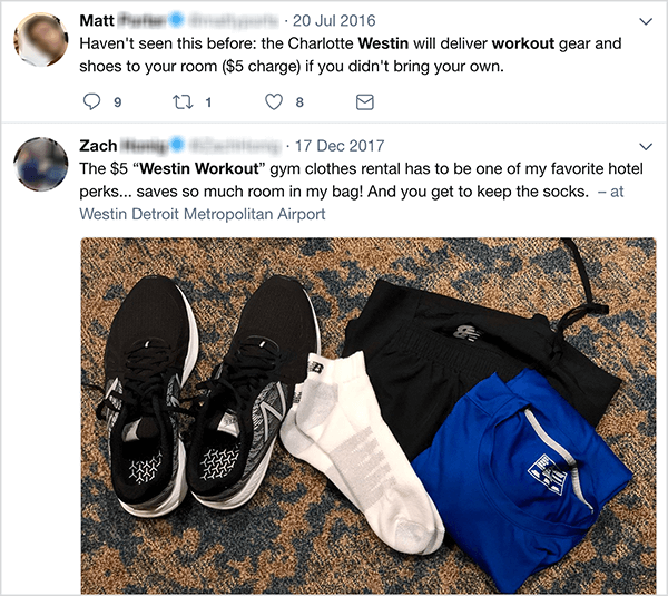 This a screenshot of tweets about the Westin workout clothing rental program. Jay Baer says the rental program is an example of a talk trigger.