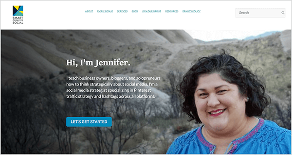 This is a screenshot of the website for Smart Creative Social, Jennifer Priest's social media agency.