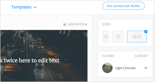Pablo has presets for Pinterest, Instagram, Facebook, and Twitter.