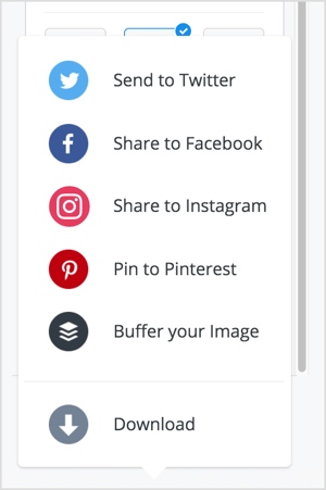 You can share your image to Twitter, Facebook, Instagram, or Pinterest via Pablo.