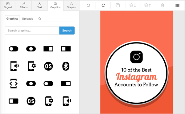 Click the Graphics tab in Snappa to see a list of vectors and custom images to choose from or to upload your own image.
