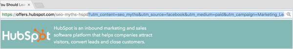 UTM parameters in URL.
