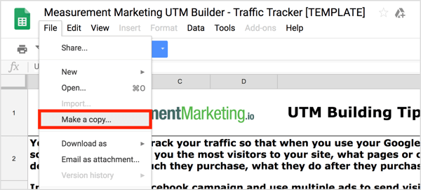 Open the UTM Builder and then choose File > Make a Copy to create your own copy.