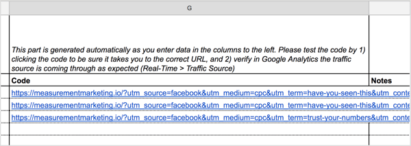 The UTM Builder spreadsheet will automatically generate the URL for you in the Code column.