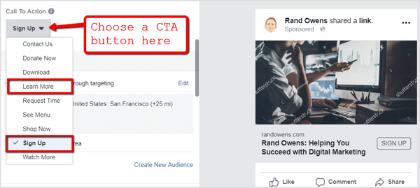 Select a call to action button for your Facebook ad campaign.