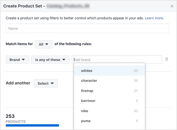 Create a product set from your Facebook catalog.