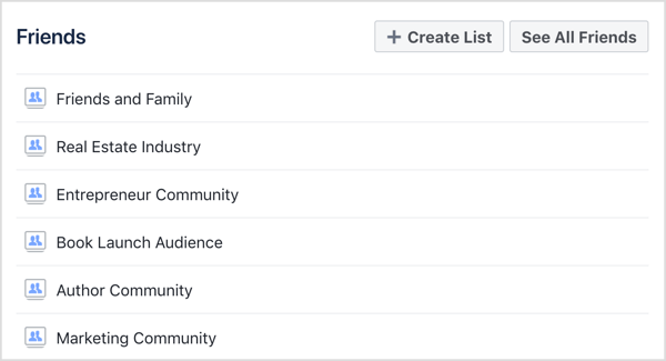 Select the Facebook friends list you want to view.