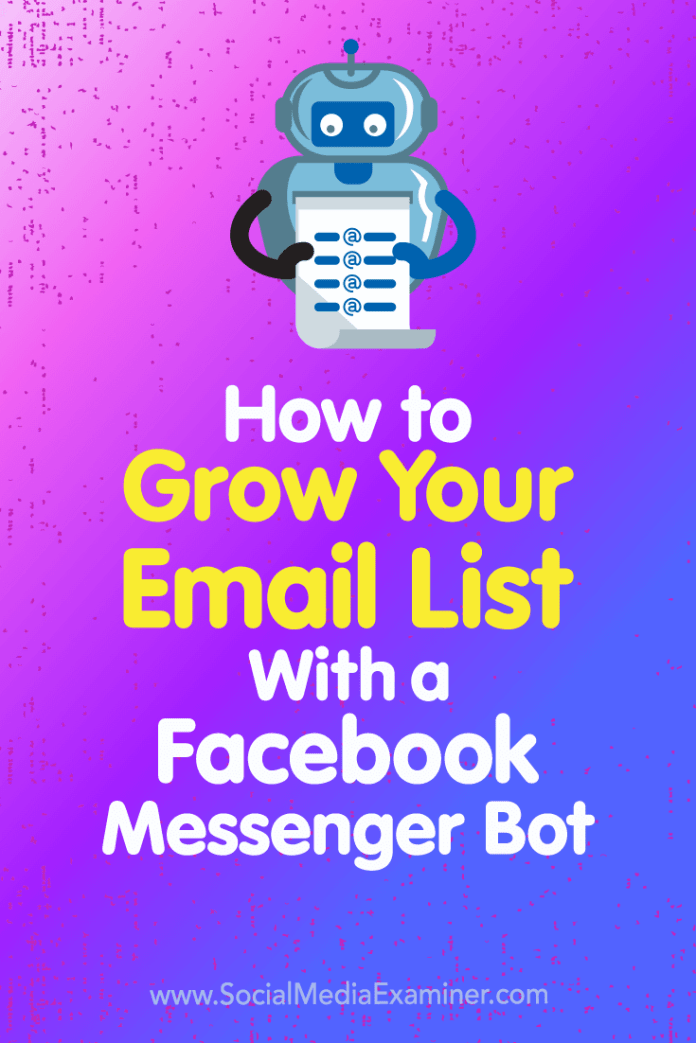 Learn how to automate the capture of email addresses (and other user information) from your Facebook Messenger bot into the email marketing service of your choice.