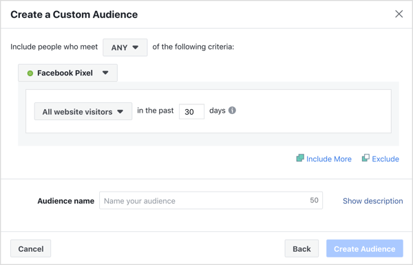 Default settings for creating a Facebook website custom audience.