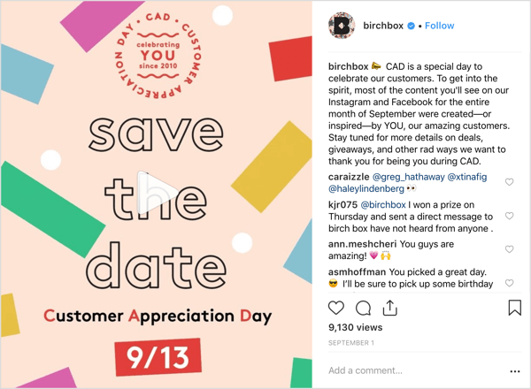 Birchbox's Instagram account treated followers to deals, giveaways, and surprises to mark Customer Appreciation Day.