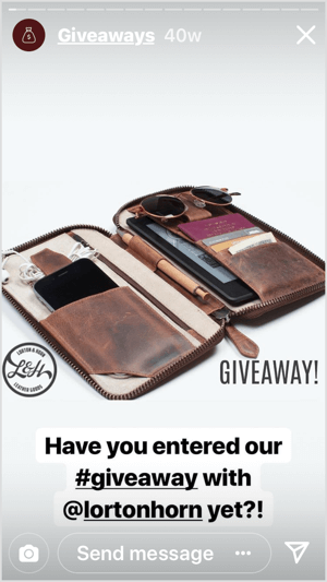 Gentleman's Box promotes a co-branded giveaway on Instagram Stories.
