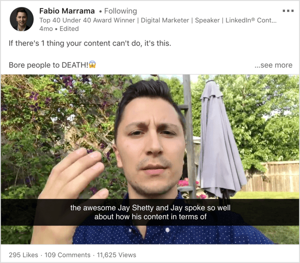 LinkedIn video that draws inspiration from social media influencer.