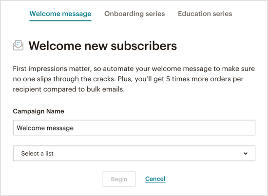 Select which type of automated welcome email you want to send via your Messenger bot.