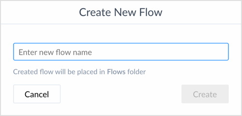 Enter new flow name in ManyChat.
