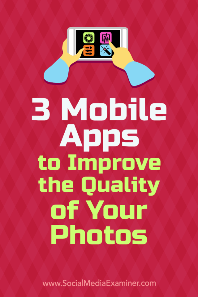 Discover three mobile apps that help you edit and deliver professional-looking photographs for your social media accounts.